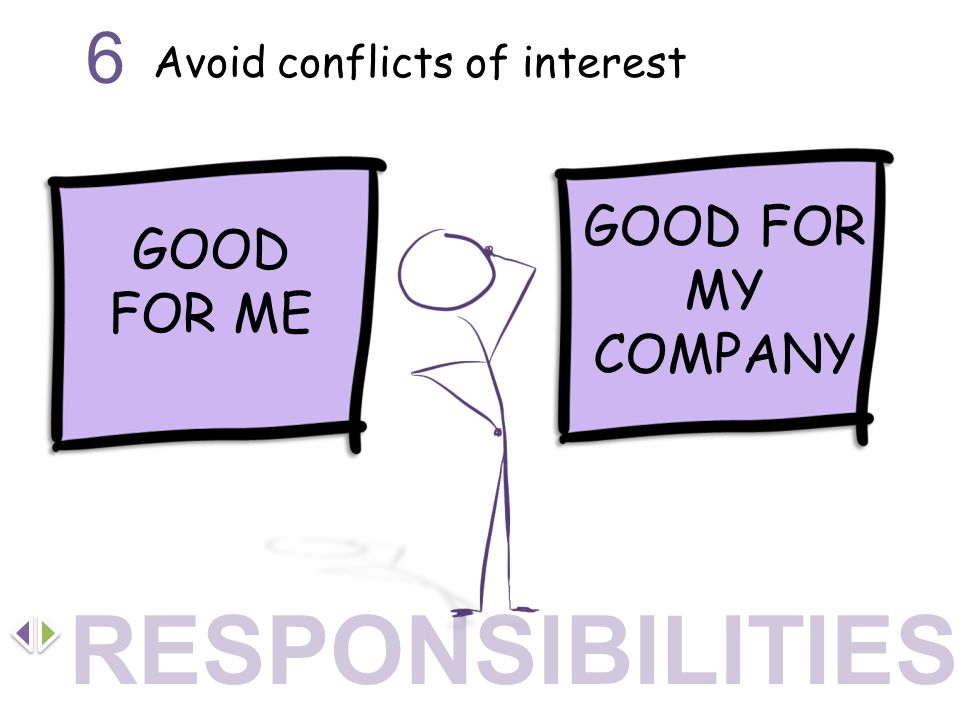 Avoid conflicts of interest 6 GOOD FOR ME GOOD FOR MY COMPANY RESPONSIBILITIES