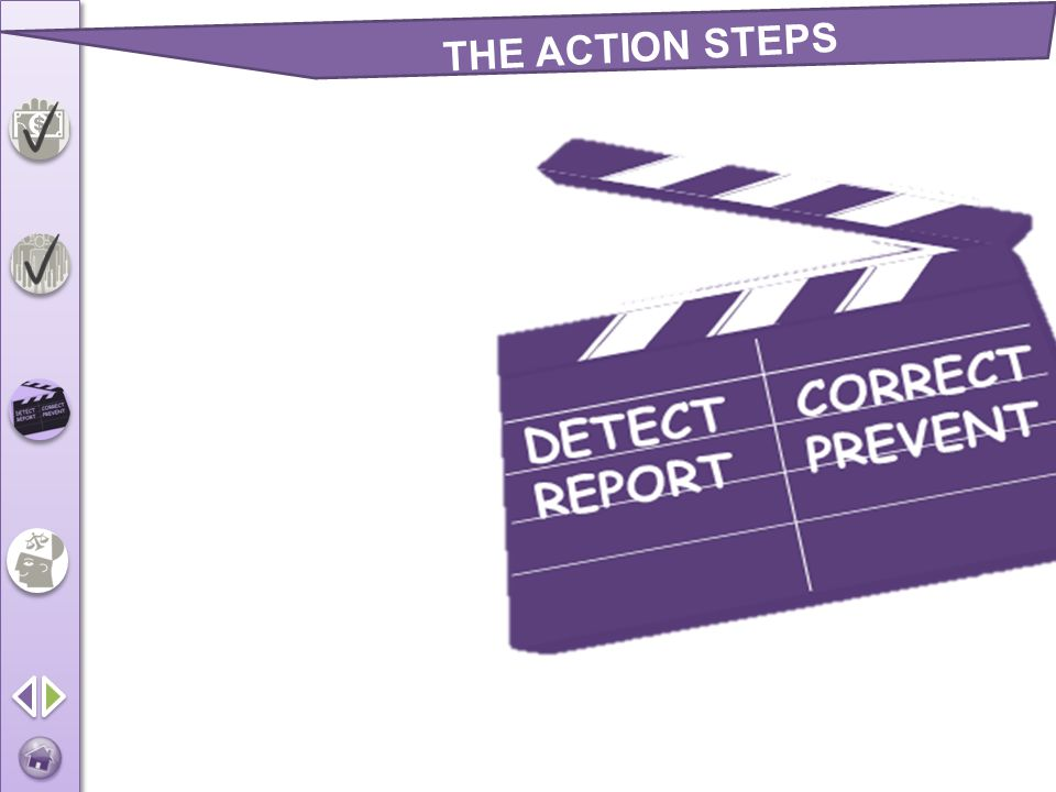 Detect Report Correct Prevent THE ACTION STEPS