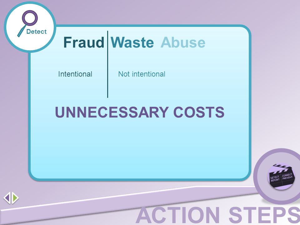 ACTION STEPS Detect FraudWaste Abuse IntentionalNot intentional UNNECESSARY COSTS
