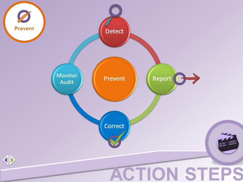 ACTION STEPS Prevent Detect ReportCorrect Monitor Audit Prevent
