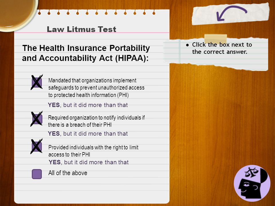 Law Litmus Test ● Click the box next to the correct answer. The Health Insurance Portability and Accountability Act (HIPAA): Required organization to