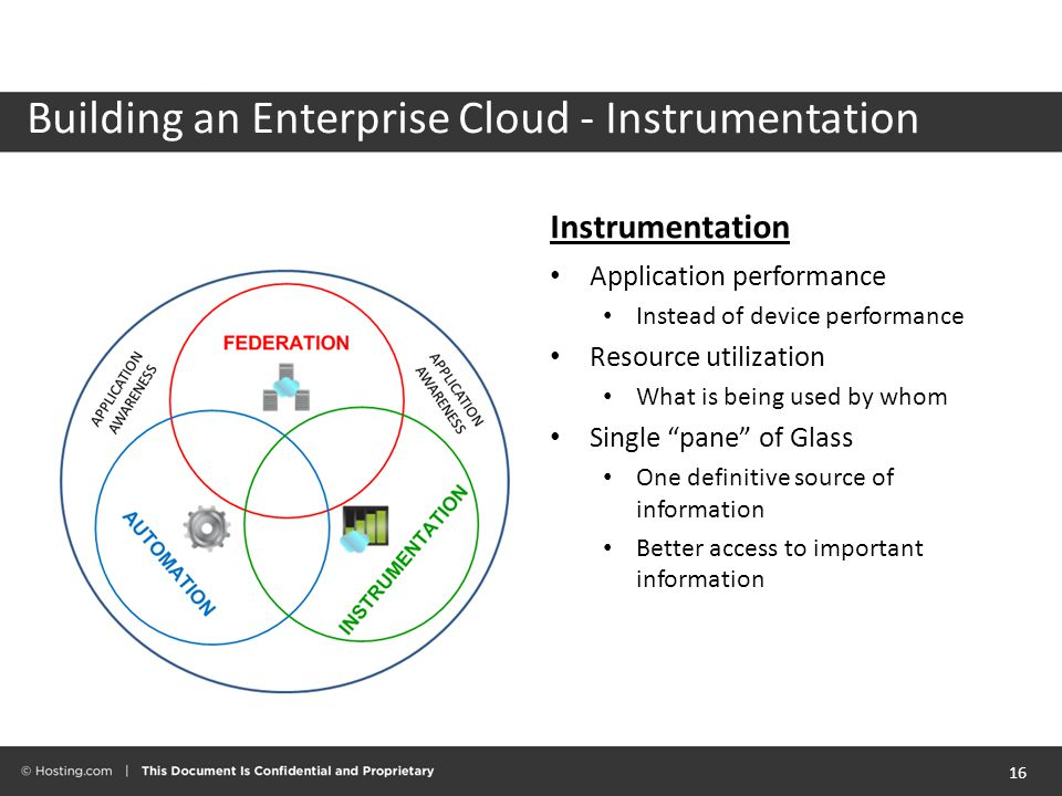 Instrumentation Application performance Instead of device performance Resource utilization What is being used by whom Single pane of Glass One definitive source of information Better access to important information 16 Building an Enterprise Cloud - Instrumentation