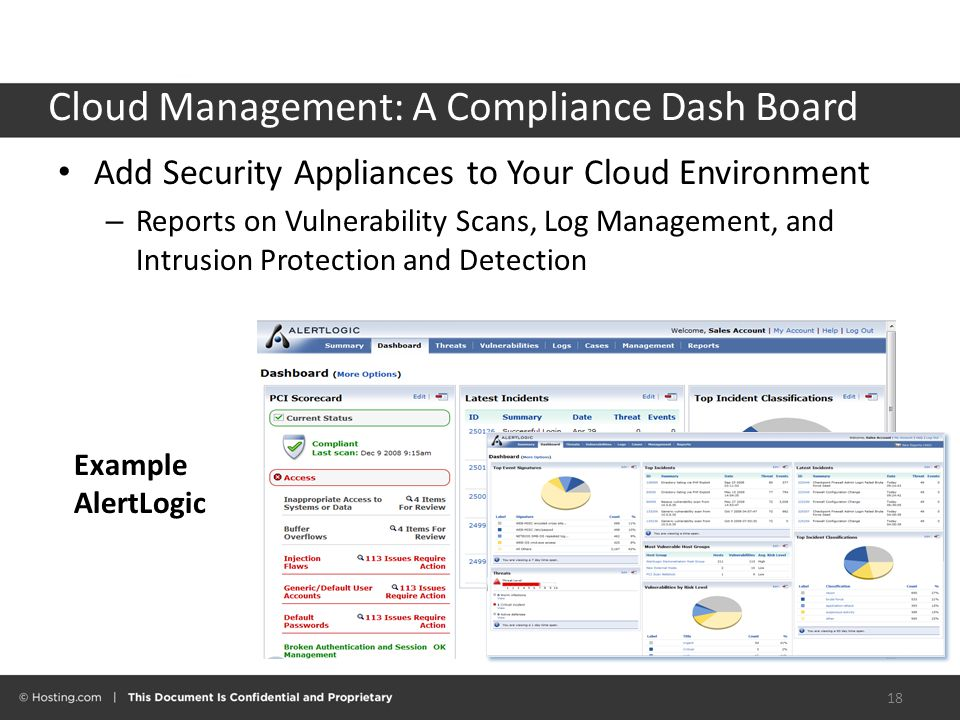 Cloud Management: A Compliance Dash Board 18 Add Security Appliances to Your Cloud Environment – Reports on Vulnerability Scans, Log Management, and Intrusion Protection and Detection Example AlertLogic