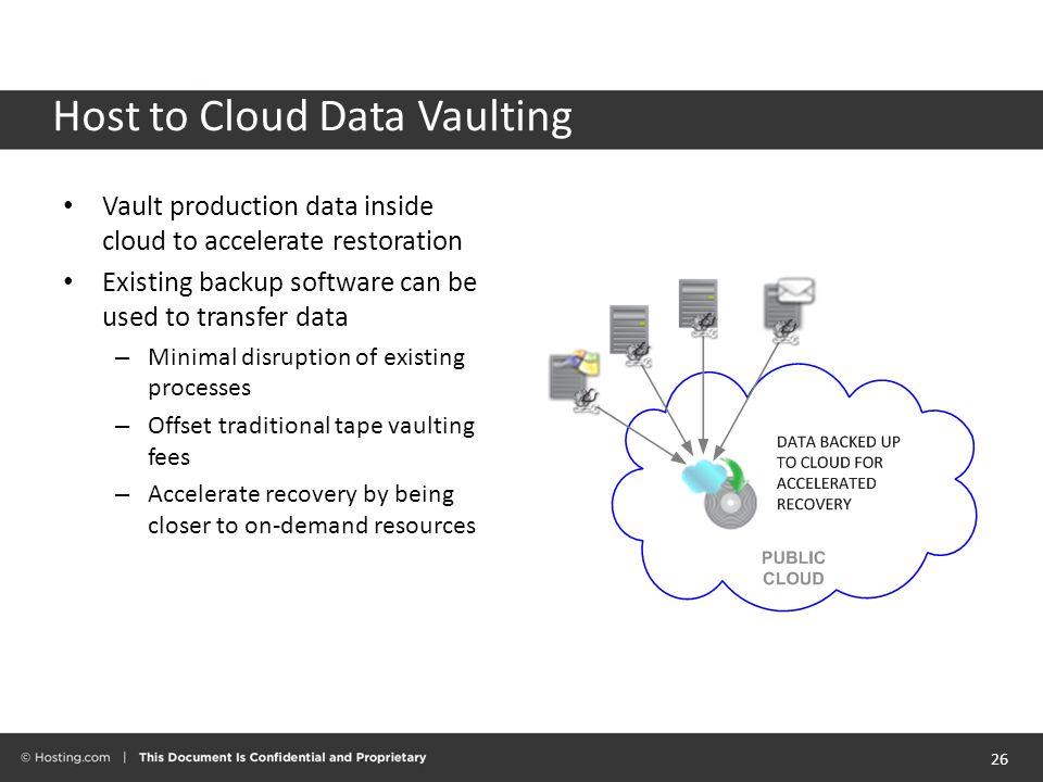 Host to Cloud Data Vaulting Vault production data inside cloud to accelerate restoration Existing backup software can be used to transfer data – Minimal disruption of existing processes – Offset traditional tape vaulting fees – Accelerate recovery by being closer to on-demand resources 26
