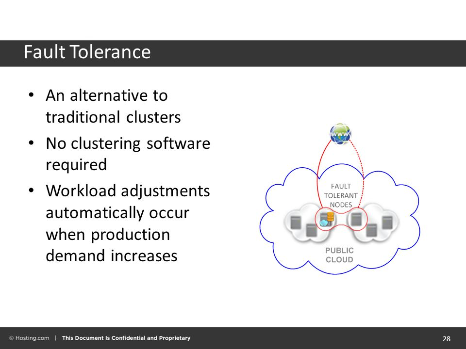 Fault Tolerance An alternative to traditional clusters No clustering software required Workload adjustments automatically occur when production demand increases 28