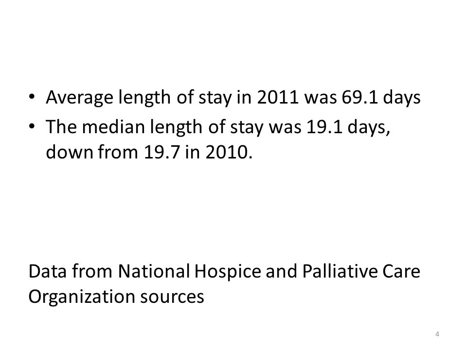Average length of stay in 2011 was 69.1 days The median length of stay was 19.1 days, down from 19.7 in 2010.