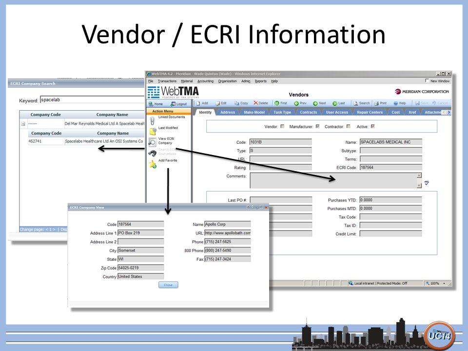 Vendor / ECRI Information