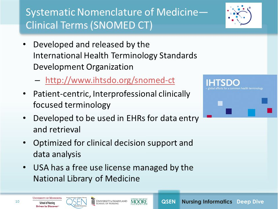 10 Systematic Nomenclature of Medicine— Clinical Terms (SNOMED CT) Developed and released by the International Health Terminology Standards Developmen