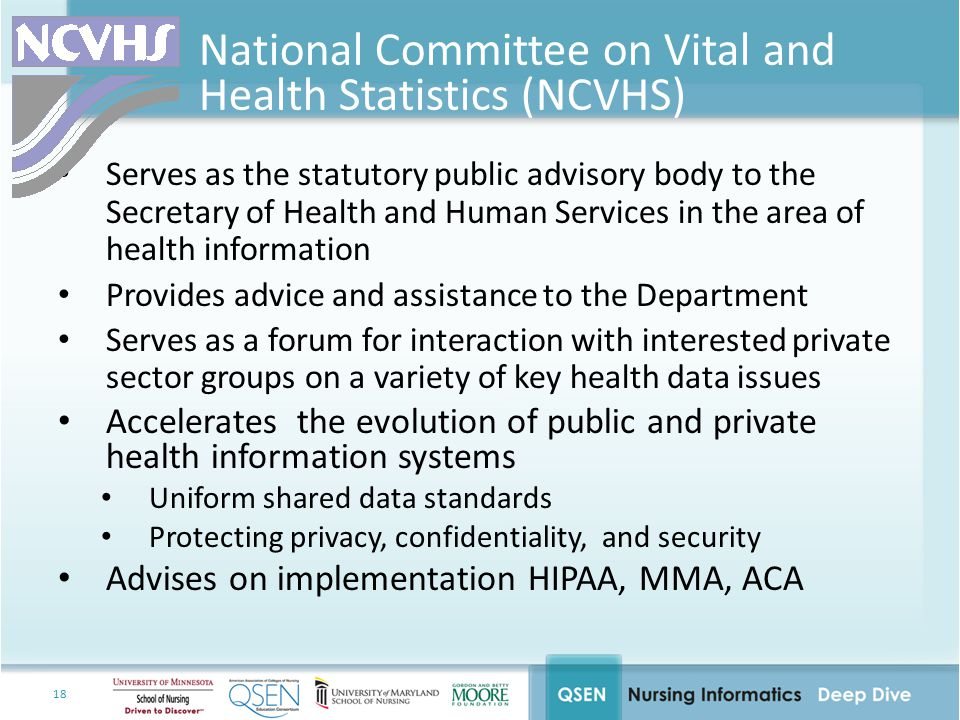 18 National Committee on Vital and Health Statistics (NCVHS) Serves as the statutory public advisory body to the Secretary of Health and Human Services in the area of health information Provides advice and assistance to the Department Serves as a forum for interaction with interested private sector groups on a variety of key health data issues Accelerates the evolution of public and private health information systems Uniform shared data standards Protecting privacy, confidentiality, and security Advises on implementation HIPAA, MMA, ACA