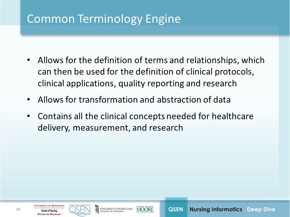 28 Common Terminology Engine Allows for the definition of terms and relationships, which can then be used for the definition of clinical protocols, clinical applications, quality reporting and research Allows for transformation and abstraction of data Contains all the clinical concepts needed for healthcare delivery, measurement, and research