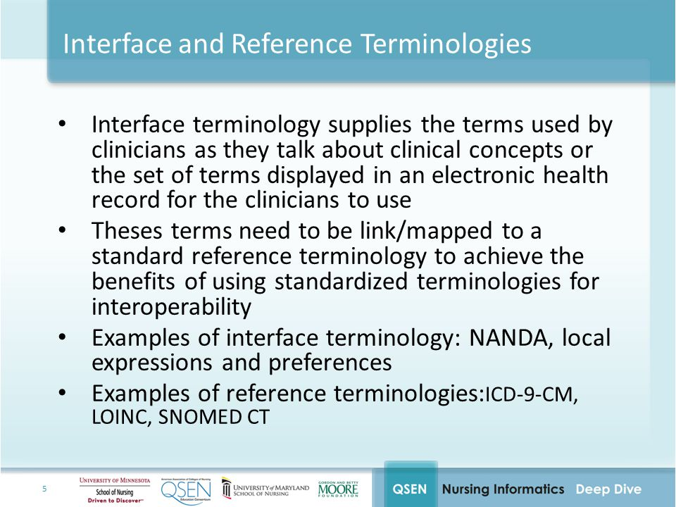 5 Interface and Reference Terminologies Interface terminology supplies the terms used by clinicians as they talk about clinical concepts or the set of