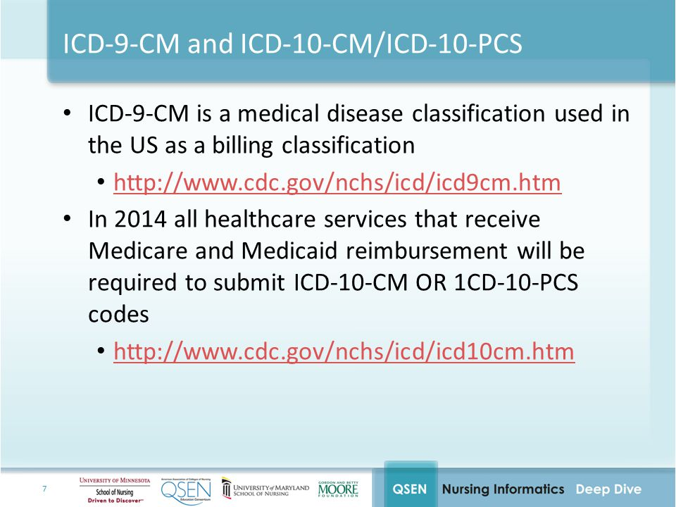 7 ICD-9-CM and ICD-10-CM/ICD-10-PCS ICD-9-CM is a medical disease classification used in the US as a billing classification http://www.cdc.gov/nchs/icd/icd9cm.htm In 2014 all healthcare services that receive Medicare and Medicaid reimbursement will be required to submit ICD-10-CM OR 1CD-10-PCS codes http://www.cdc.gov/nchs/icd/icd10cm.htm