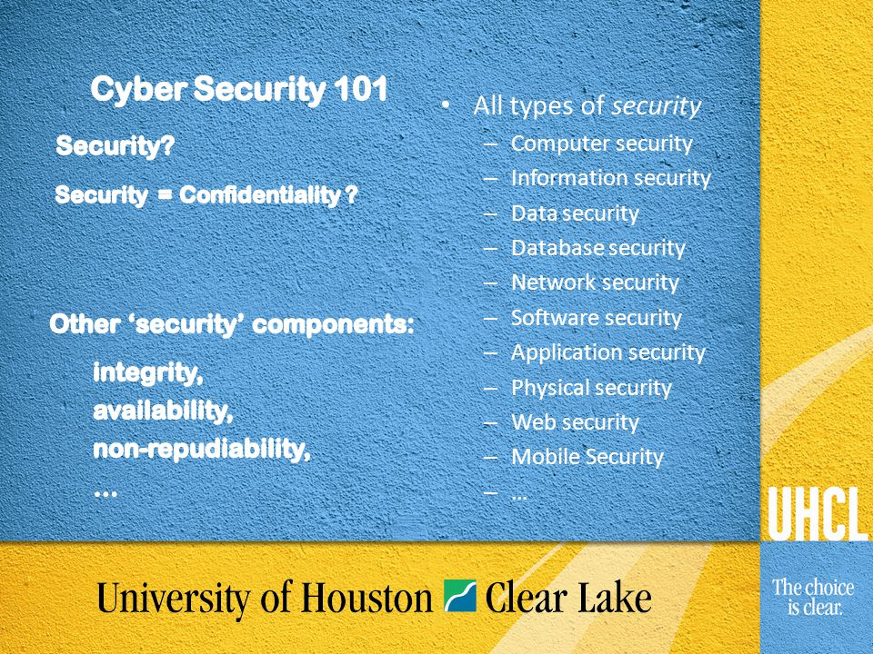 All types of security – Computer security – Information security – Data security – Database security – Network security – Software security – Applicat