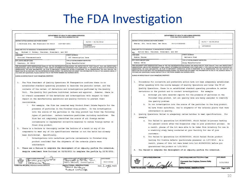 The FDA Investigation 10