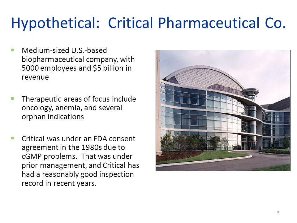 Hypothetical: Critical Pharmaceutical Co.