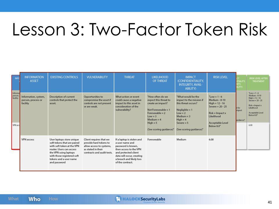 41 Lesson 3: Two-Factor Token Risk
