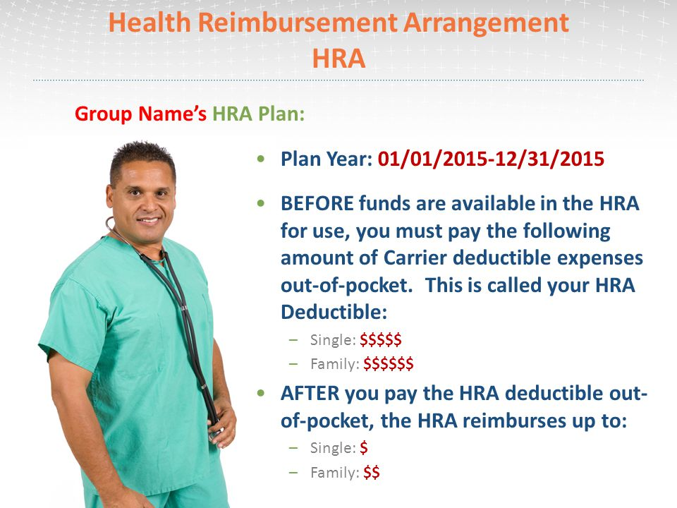 Health Reimbursement Arrangement HRA To activate the account once HRA deductible has been satisfied: –Submit a claim and attach supporting documentation –Claims can be submitted through your online account or claim forms are available under the For Members tab and Forms page on www.choice-strategies.comwww.choice-strategies.com HRA-Eligible Expenses include: –Office Visits –Hospital –Prescriptions –Outpatient Group Name's HRA Plan: