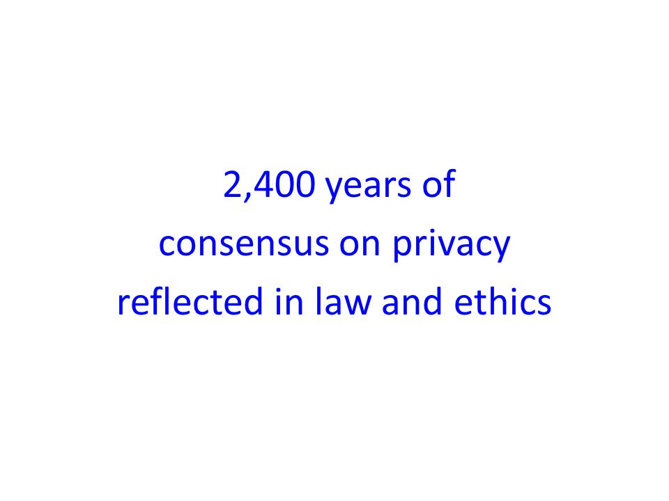 2,400 years of consensus on privacy reflected in law and ethics