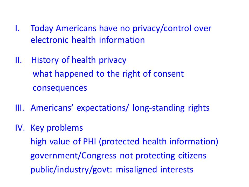 I.Today Americans have no privacy/control over electronic health information II.