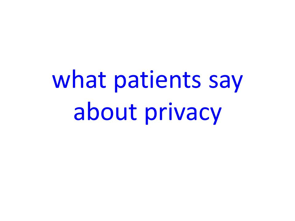 what patients say about privacy