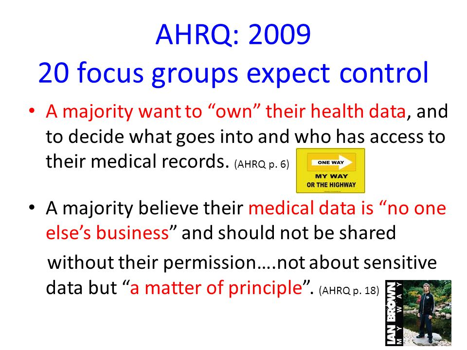 "AHRQ: 2009 20 focus groups expect control A majority want to ""own"" their health data, and to decide what goes into and who has access to their medical"
