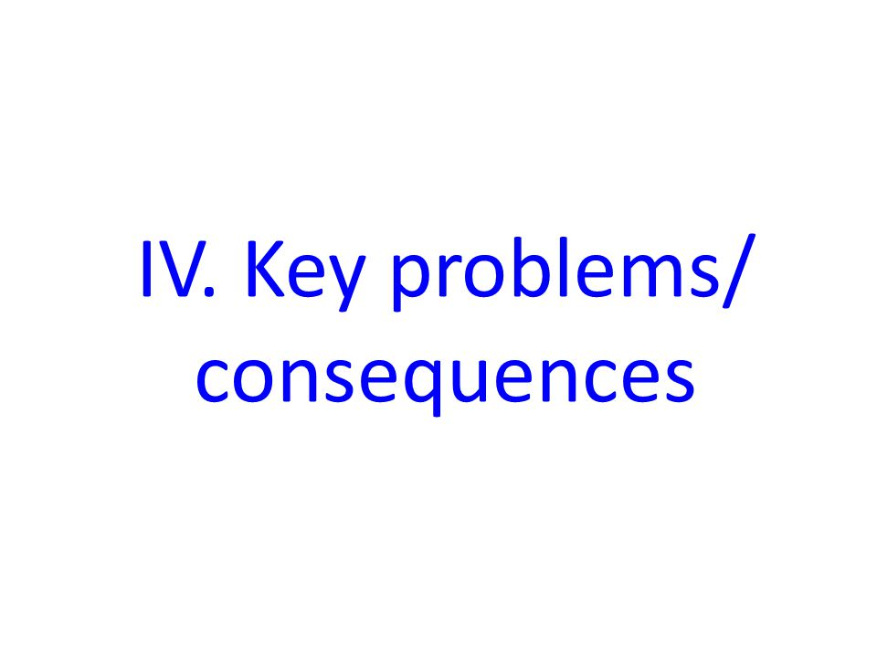 IV. Key problems/ consequences