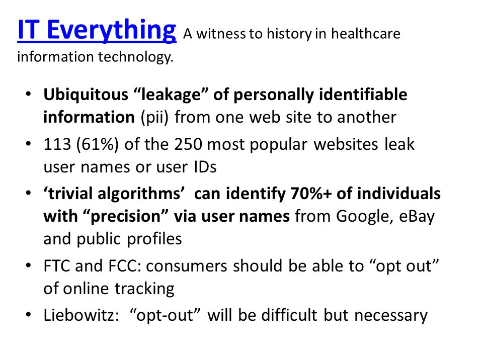 IT EverythingIT Everything A witness to history in healthcare information technology.