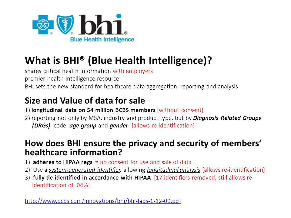 What is BHI® (Blue Health Intelligence).
