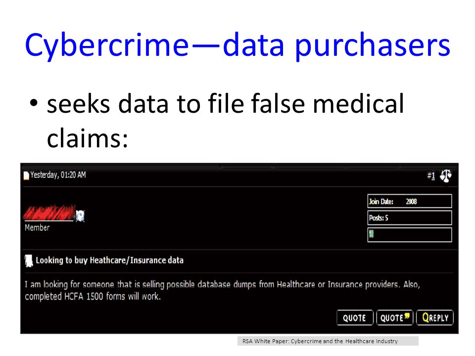 Cybercrime—data purchasers seeks data to file false medical claims: RSA White Paper: Cybercrime and the Healthcare Industry