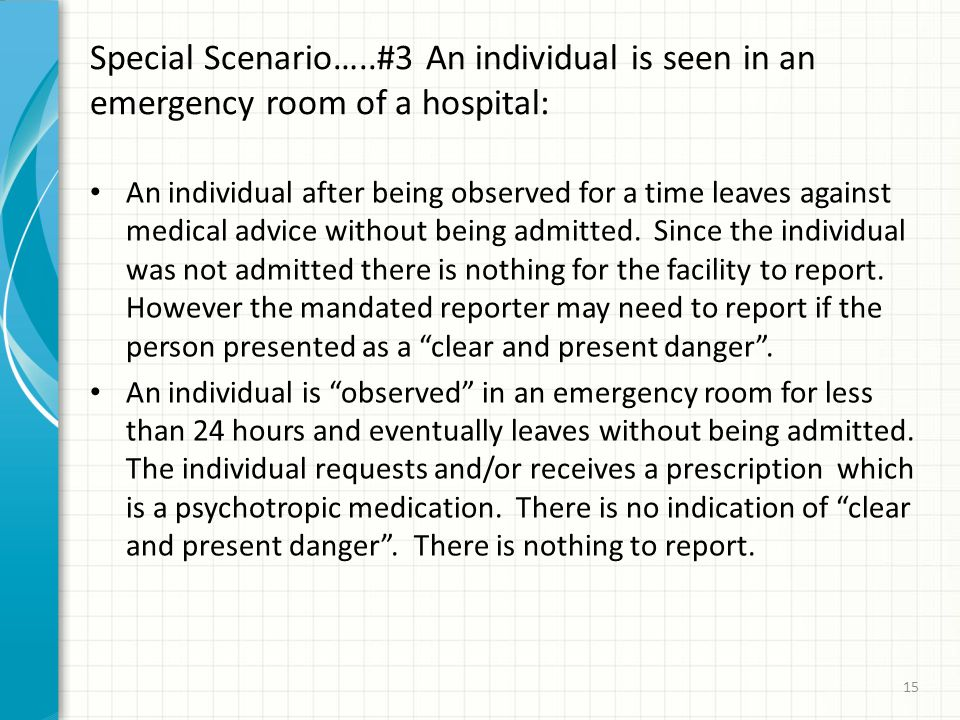 Special Scenario…..#3 An individual is seen in an emergency room of a hospital: An individual after being observed for a time leaves against medical advice without being admitted.