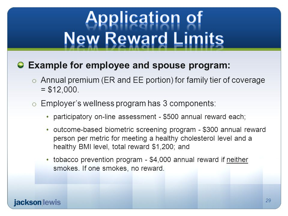 Example for employee and spouse program: o Annual premium (ER and EE portion) for family tier of coverage = $12,000.