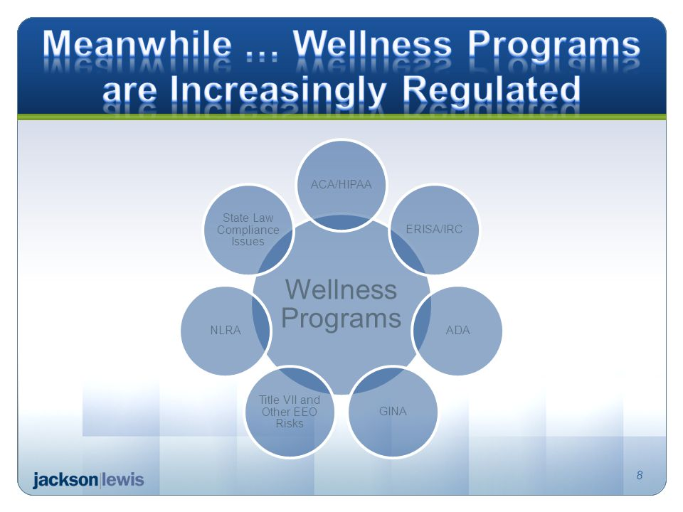 Wellness Programs ACA/HIPAAERISA/IRCADAGINA Title VII and Other EEO Risks NLRA State Law Compliance Issues 8