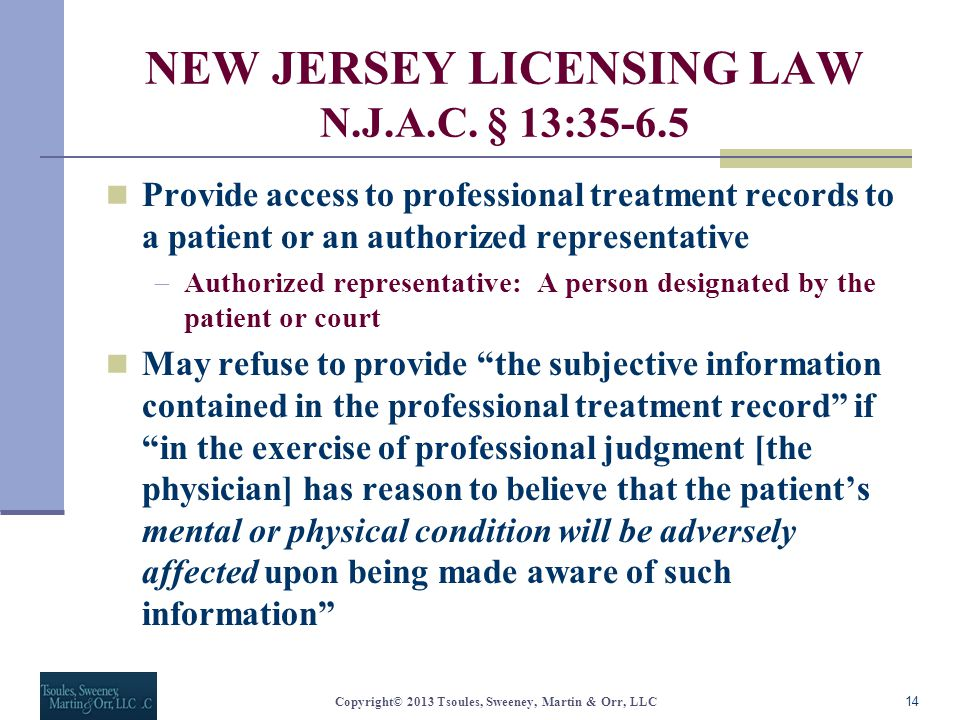 NEW JERSEY LICENSING LAW N.J.A.C.