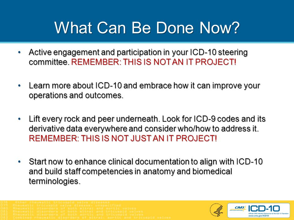 Resources to Help You Prepare CMS ICD-10 Web site: http://cms.gov/ICD10CMS ICD-10 Web site: http://cms.gov/ICD10 CMS ICD-10 Listserv: http://cms.gov/ICD10/02d_CMS_ICD- 10_Industry_Email_Updates.aspCMS ICD-10 Listserv: http://cms.gov/ICD10/02d_CMS_ICD- 10_Industry_Email_Updates.asp Professional, clinical, trade associationsProfessional, clinical, trade associations