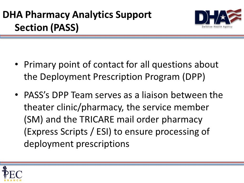 2 DHA Pharmacy Analytics Support Section (PASS) Primary point of contact for all questions about the Deployment Prescription Program (DPP) PASS's DPP