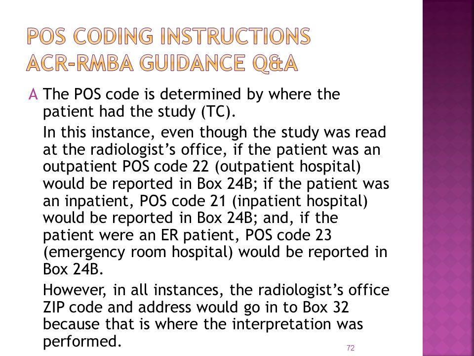AThe POS code is determined by where the patient had the study (TC).