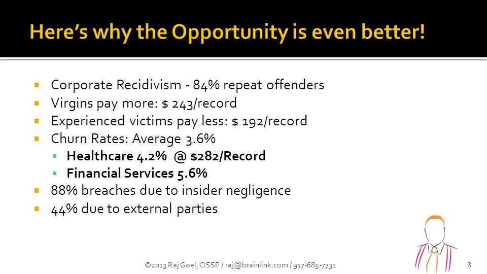  Corporate Recidivism - 84% repeat offenders  Virgins pay more: $ 243/record  Experienced victims pay less: $ 192/record  Churn Rates: Average 3.6