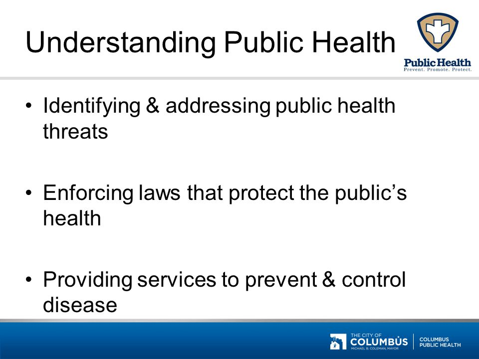 Understanding Public Health Identifying & addressing public health threats Enforcing laws that protect the public's health Providing services to preve