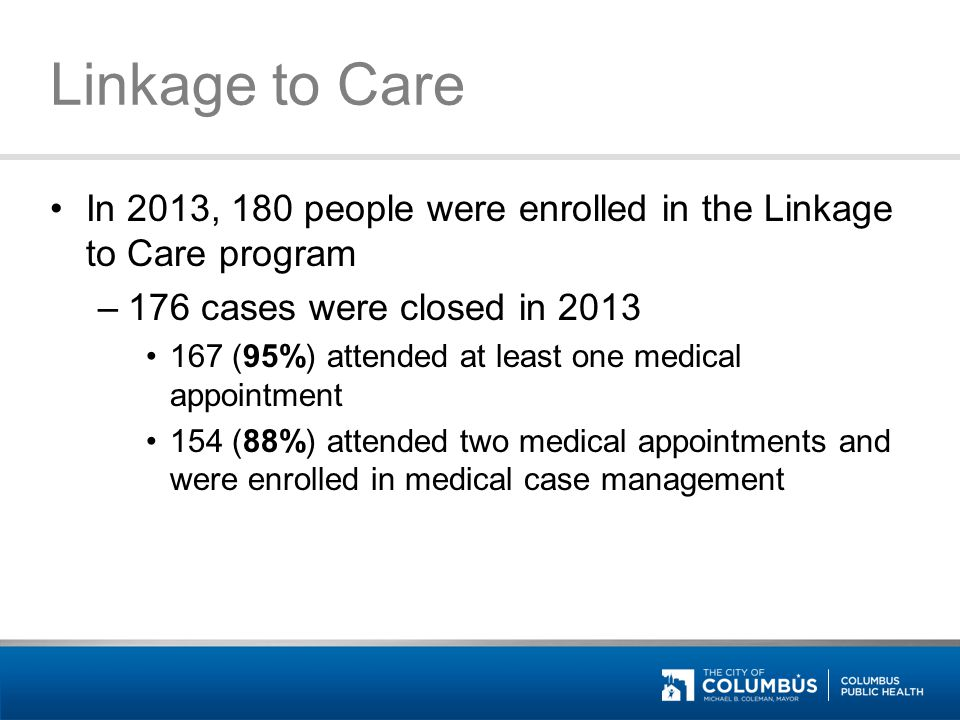 Linkage to Care From January-March of 2014, 57 people were enrolled in the Linkage to Care program –33 cases have been closed 32 (97%) attended at least one medical appointment 30 (91%) attended two medical appointments and were enrolled in medical case management