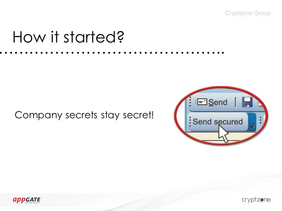 How it started …………………………………….. Company secrets stay secret!