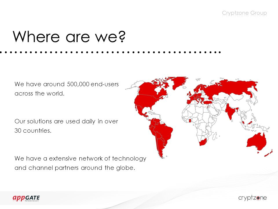 Where are we. …………………………………….. We have around 500,000 end-users across the world.