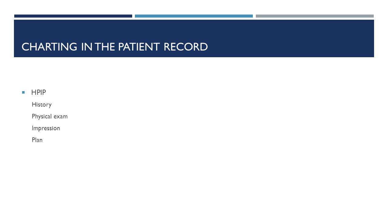 CHARTING IN THE PATIENT RECORD  HPIP History Physical exam Impression Plan