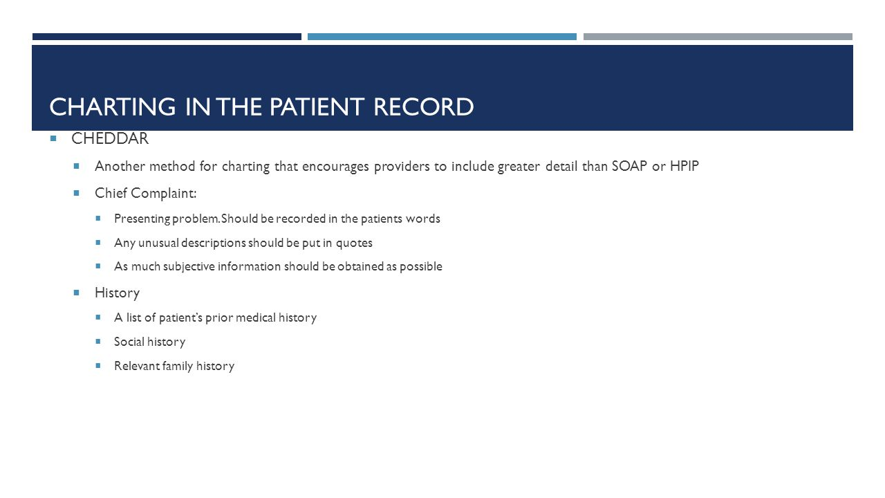 CHARTING IN THE PATIENT RECORD  CHEDDAR  Another method for charting that encourages providers to include greater detail than SOAP or HPIP  Chief C