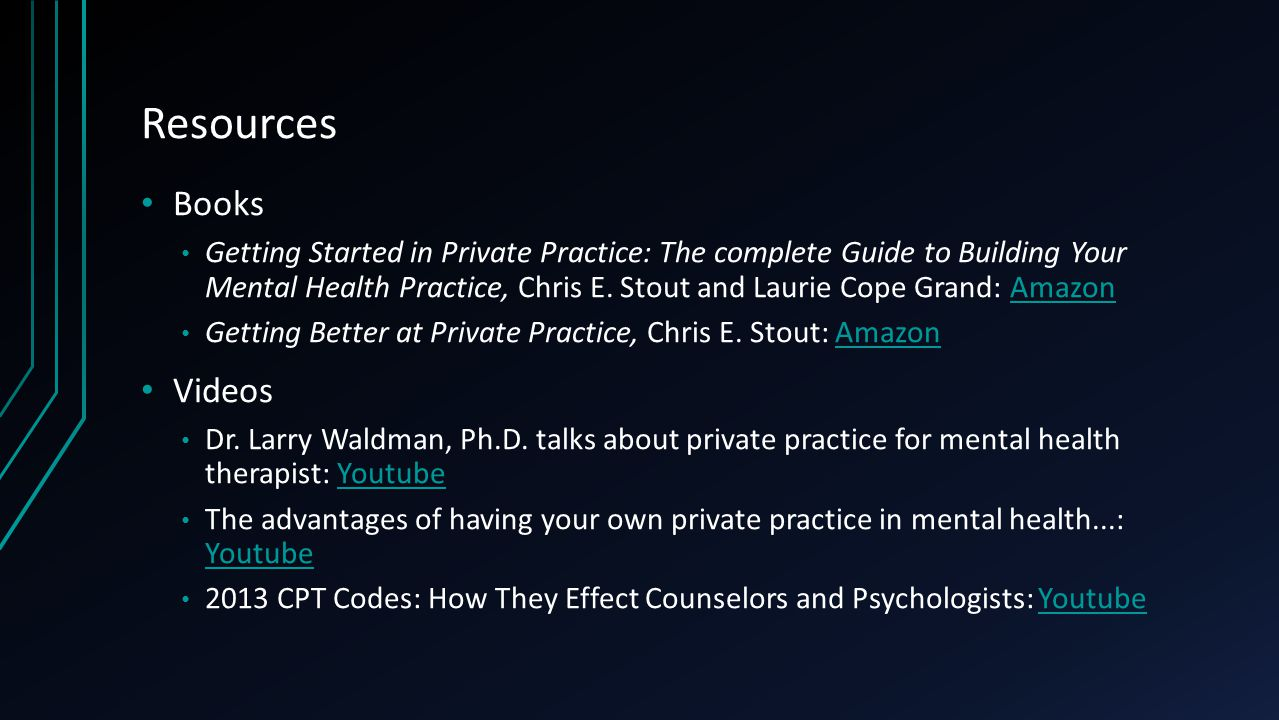Resources Books Getting Started in Private Practice: The complete Guide to Building Your Mental Health Practice, Chris E. Stout and Laurie Cope Grand: