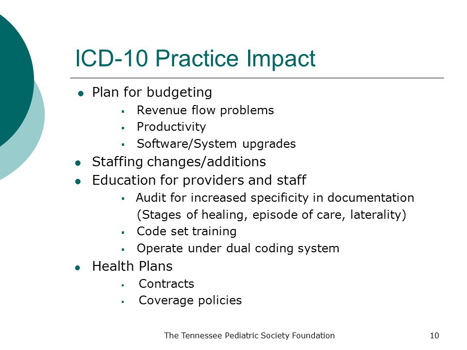 ICD-10 Practice Impact Plan for budgeting  Revenue flow problems  Productivity  Software/System upgrades Staffing changes/additions Education for providers and staff  Audit for increased specificity in documentation (Stages of healing, episode of care, laterality)  Code set training  Operate under dual coding system Health Plans  Contracts  Coverage policies The Tennessee Pediatric Society Foundation10