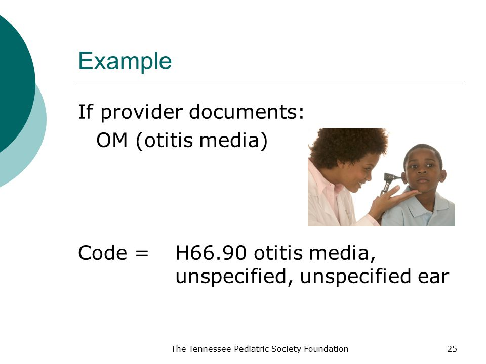 Example If provider documents: OM (otitis media) Code =H66.90 otitis media, unspecified, unspecified ear The Tennessee Pediatric Society Foundation25