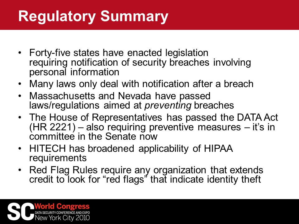 Regulatory Summary Forty-five states have enacted legislation requiring notification of security breaches involving personal information Many laws onl