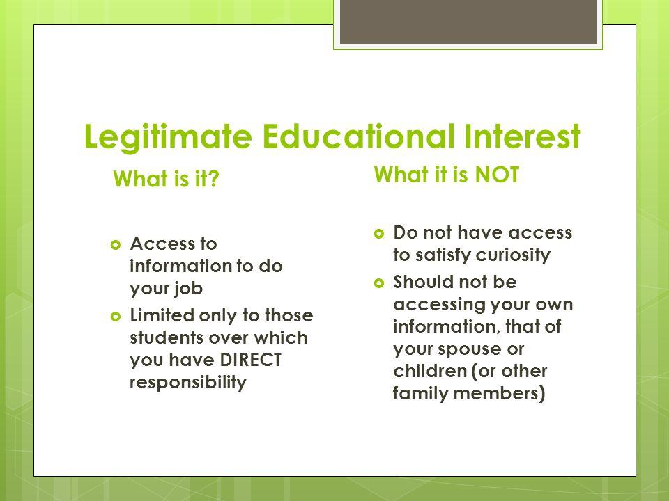 Legitimate Educational Interest What is it.