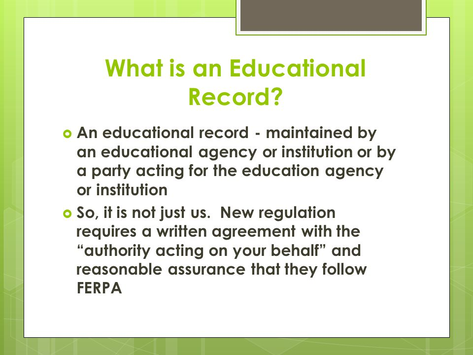 What is an Educational Record.
