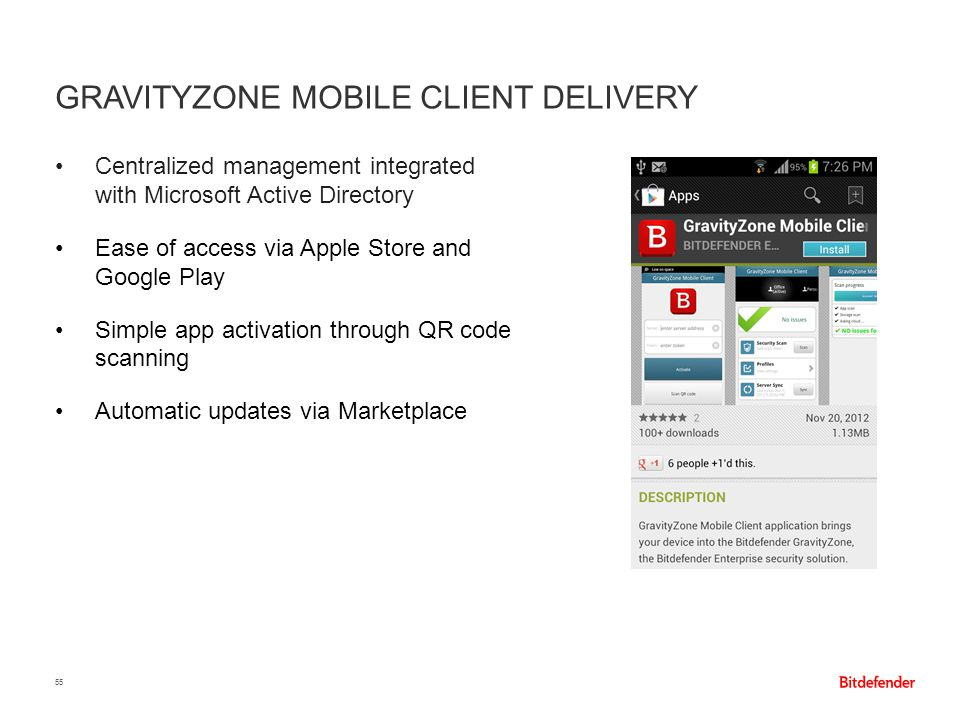 GRAVITYZONE MOBILE CLIENT DELIVERY 55 Centralized management integrated with Microsoft Active Directory Ease of access via Apple Store and Google Play